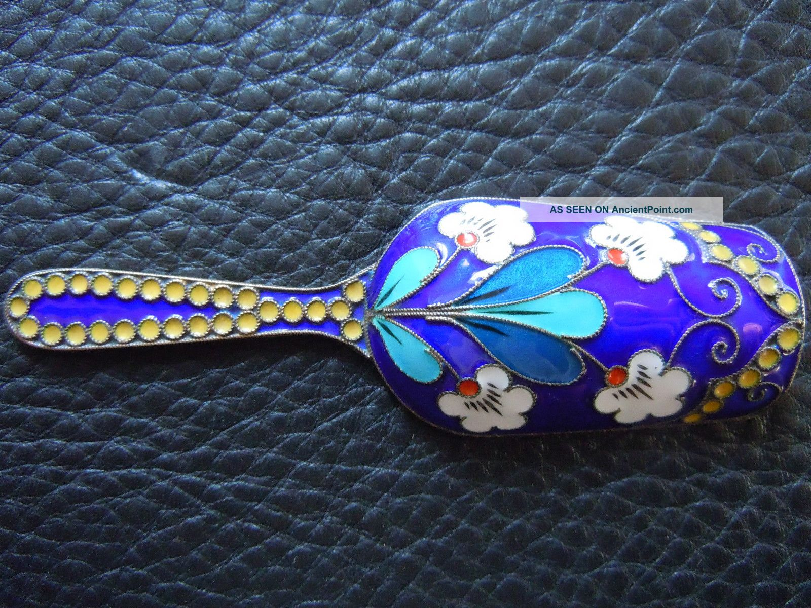 Antique Russian Silver & Shaded Enamel Tea Caddy Spoon Fully Marked Russia photo