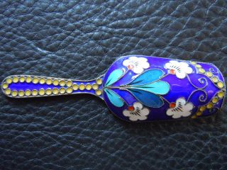 Antique Russian Silver & Shaded Enamel Tea Caddy Spoon Fully Marked photo