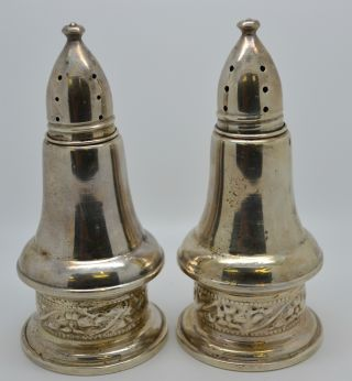 Sterling Silver Salt And Pepper Shakers Weighted With Glass photo