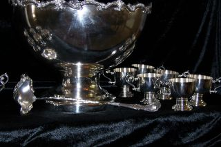 English Plate Punch Bowl With 12 Cups And Ladle photo