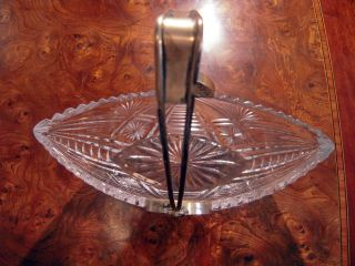 Russian Silver 875 Crystal Bowl Basket Boat Shape / Sign photo