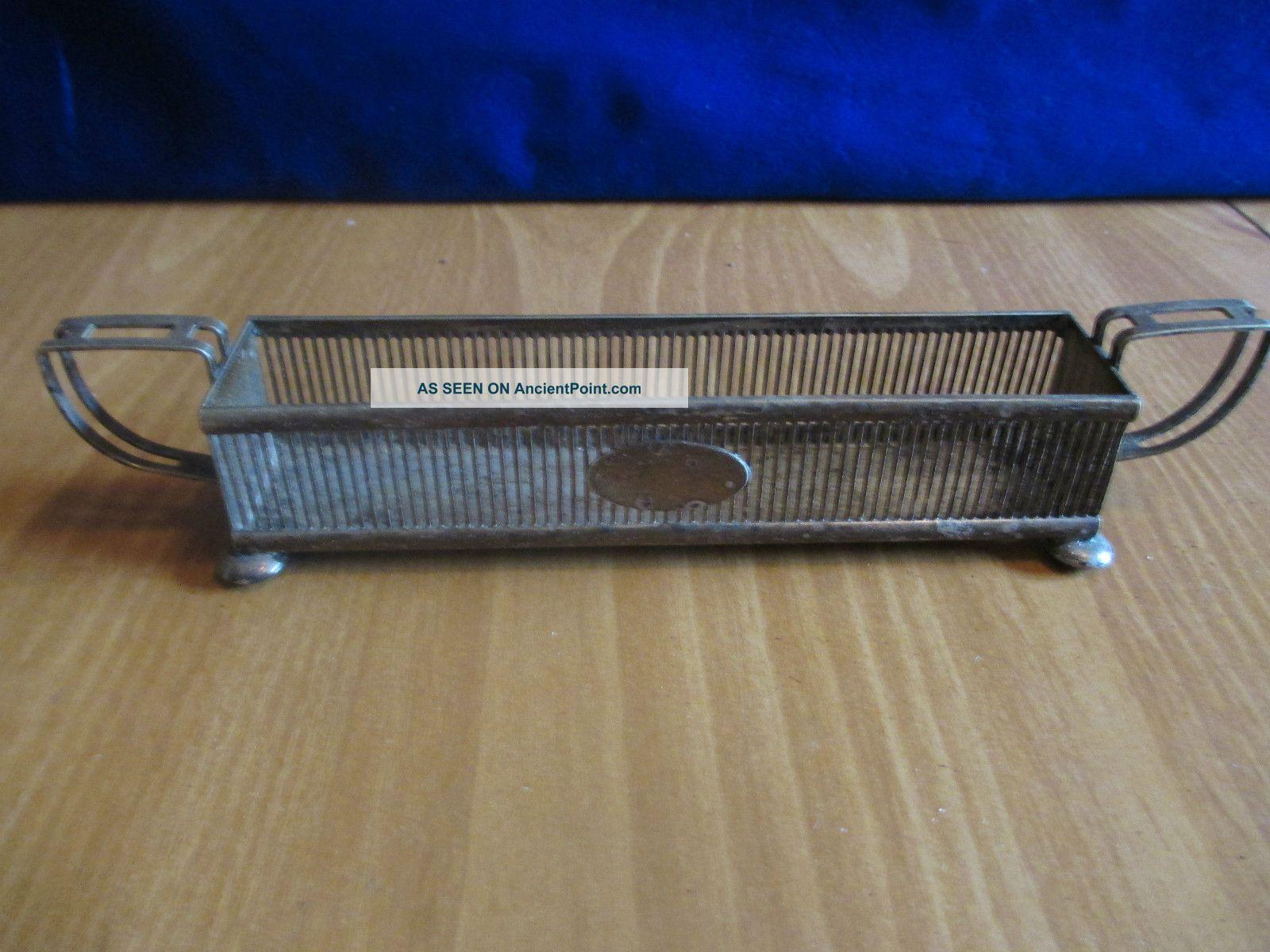 Antique Brs Nickel Silver Sheffield Table Rack/holder/basket United Kingdom photo