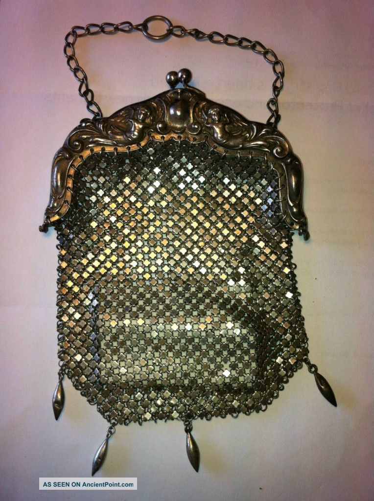 Sterling Silver Mesh Ladies Purse W Chain 6.  25oz Card Cases photo