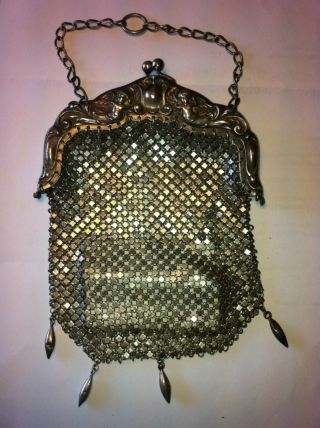 Sterling Silver Mesh Ladies Purse W Chain 6.  25oz photo