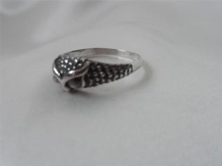 Fabulous Solid Silver ' Owl ' S Head ' Ladies Ring Feathered & Set With Pearl Eyes photo