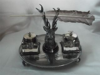 Antique Victorian Silver Plated Desk Companion Inkwell Stand & Pen Holder photo
