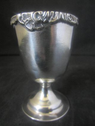 Edwardian Solid Silver Egg Cup With Cast Rim - London 1909 photo