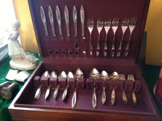 Prestige Silverplate Spring Song 38 Pc Flatware Set Including Display Box photo