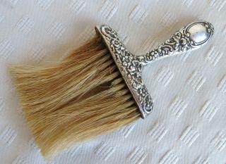 Antique Victorian Mauser Repousse Sterling Silver Clothes Lint Bonnet Hat Brush photo