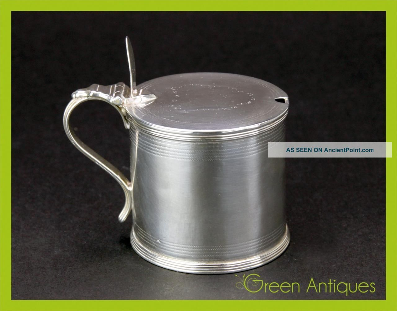 Antique 18thc Georgian Solid Silver & Glass Mustard Pot,  Henry Chawner C.  1792 Mustard Pots photo