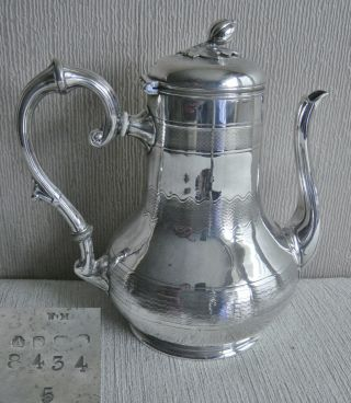 Suberb Unusual Antique Atkin Bros Engine Turned Silver Epns Coffee Pot Water Jug photo