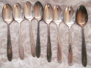 Vintage Grosvenor Silverplate Serving Spoons - 8 photo