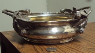 Antique Silver Plated Berry Bowl,  Gold Washed,  2 Handles By Barbour Silver Co photo