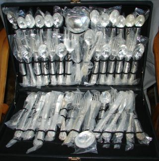 Unused Silverplated Flatware Set Floral Pattern Complete Service For 12 51 Pcs photo