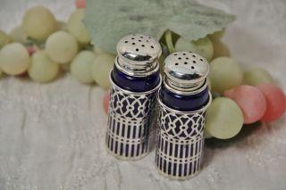Cobalt Blue Glass And Silver Plate Salt & Pepper Shaker Set photo