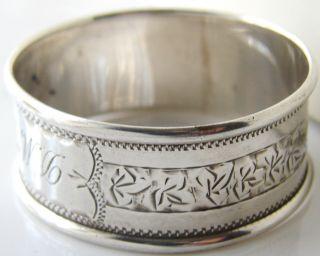 Antique Birmingham 1915 Engraved Sold Silver Napkin Ring photo