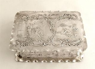 Antique Hallmarked Sterling Silver Table Box 1896 - Village Scene - 126g photo