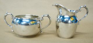 Vintage Gorham Sterling (. 925) Creamer & Sugar Bowl Dated 1948 225.  4 Grams photo