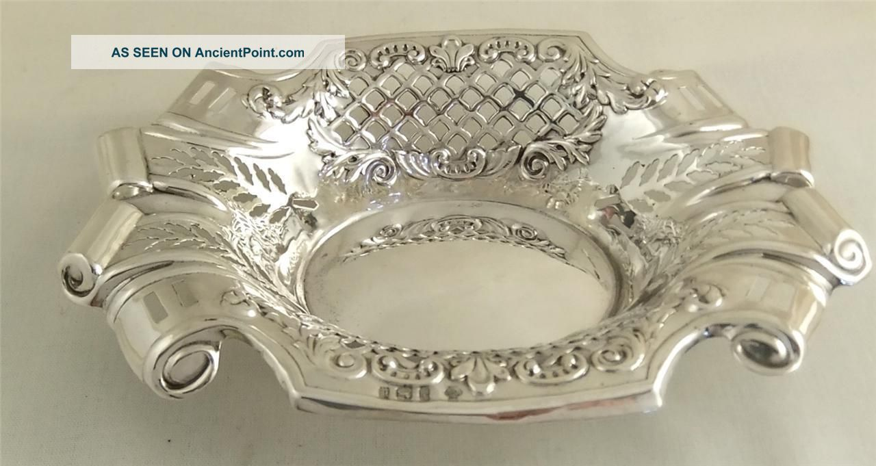 Antique Hallmarked Sterling Silver Dish With Scroll Ends - 1903 Dishes & Coasters photo
