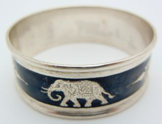 Siam Sterling Silver Round Napkin Ring Elephant photo