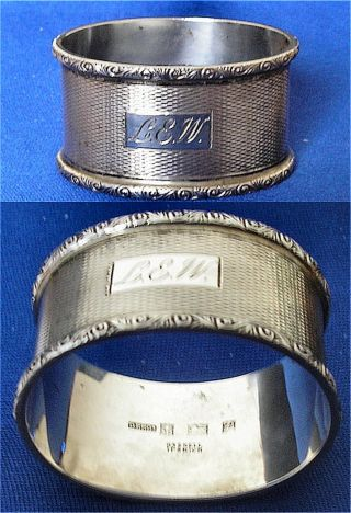 Heavy Gauge Solid Silver Oval Napkin Ring Hallmarked Birmingham 1964 photo