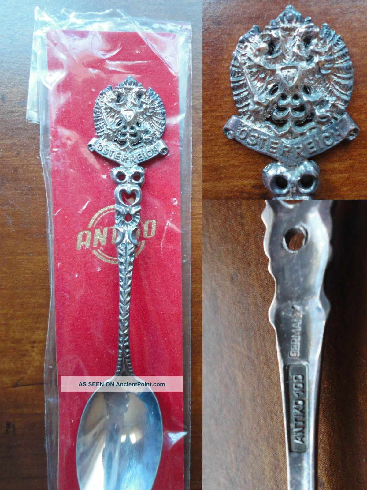 Vtg Antiko 100 Austria/osterreich Silverplated Spoon - Double Head Eagle 1938 Wwii Germany photo