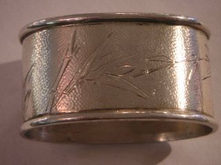 Chinese Silver Napkin Ring Of Oval Shape With Bamboo Design photo