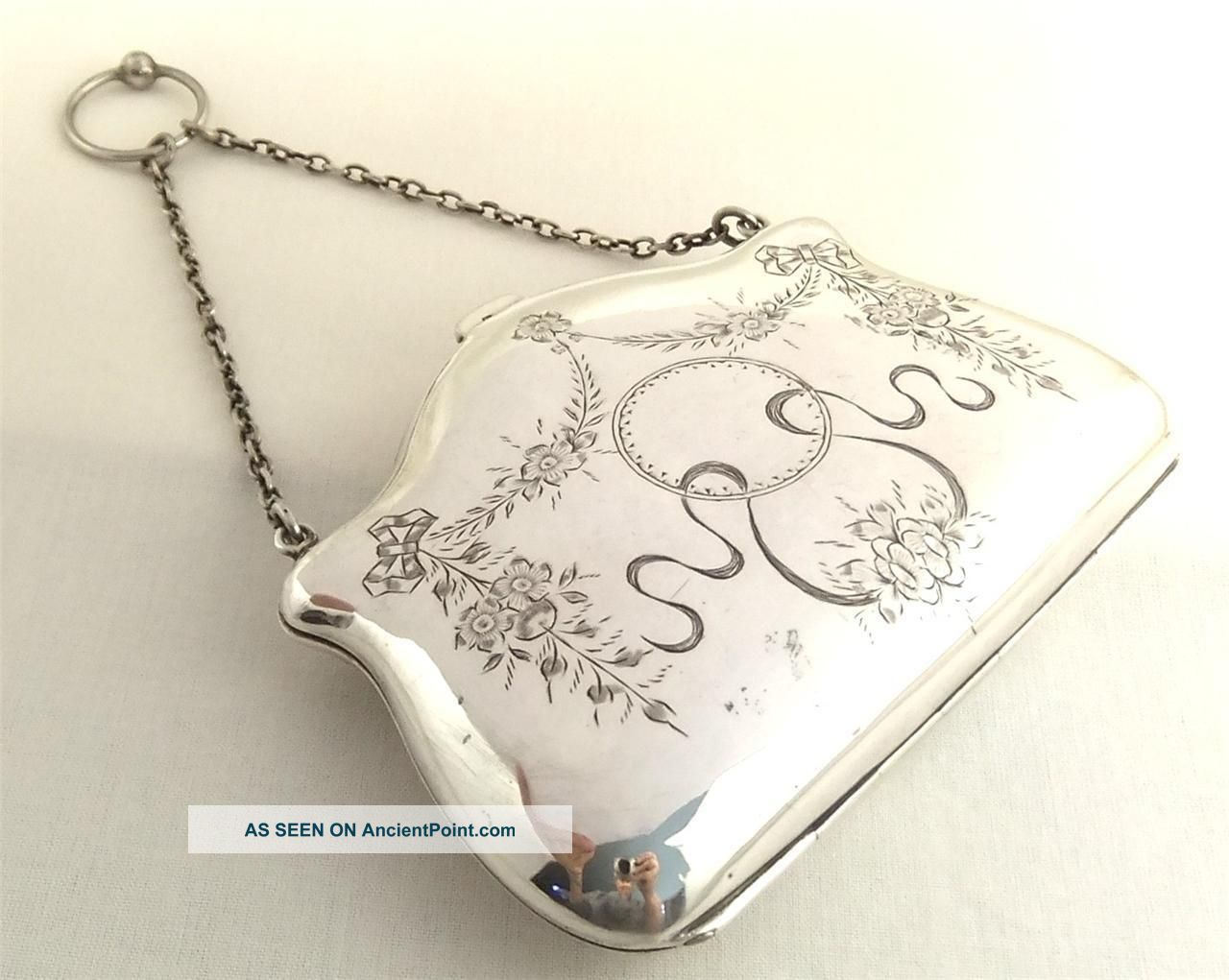 Antique Hallmarked Sterling Silver Purse - 1912 Card Cases photo