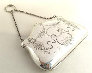 Antique Hallmarked Sterling Silver Purse - 1912 photo