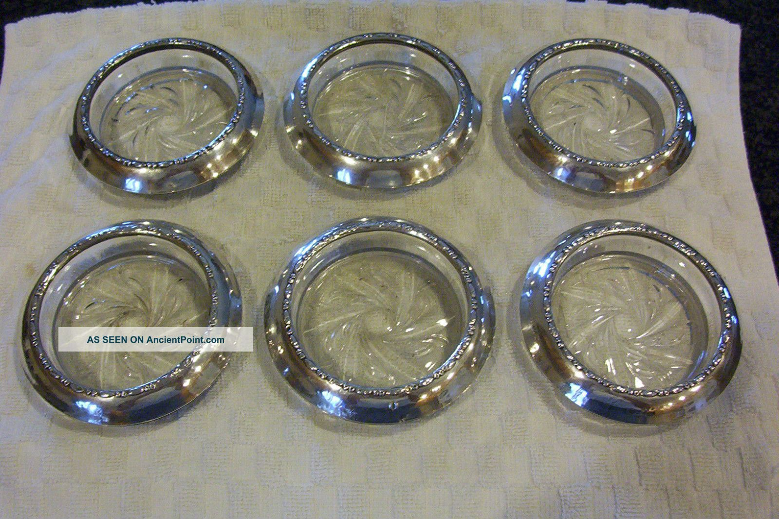 Vintage Set Of 6 Sterling Silver And Cut Glass/crystal Coasters Amston Dishes & Coasters photo