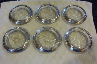 Vintage Set Of 6 Sterling Silver And Cut Glass/crystal Coasters Amston photo