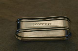 12.  3g Antique Sterling Silver Napkin Ring Engraved ' Robert ' photo