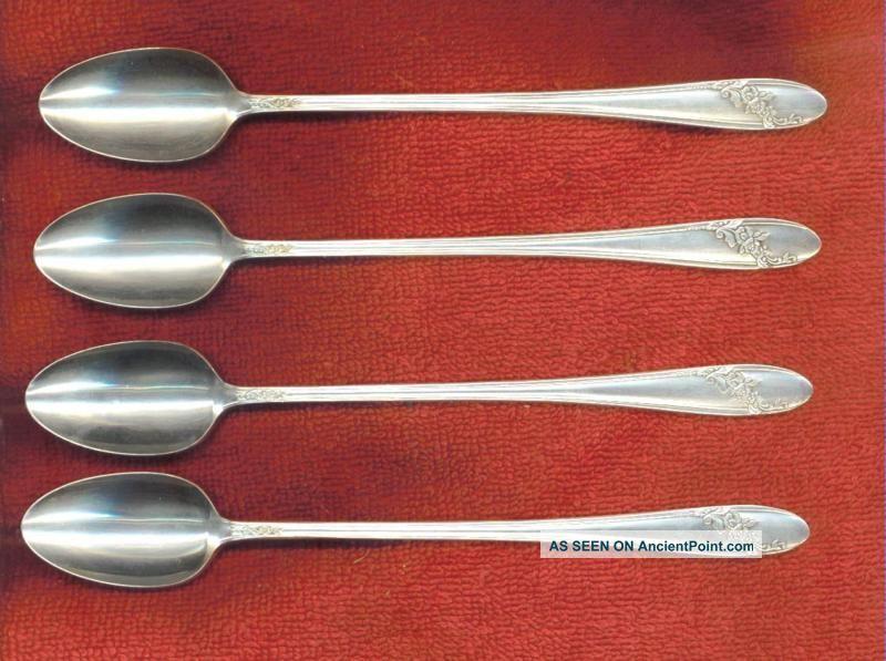 Oneida Tudor Plate Queen Bess Ii 4 Iced Tea Spoons Condition Oneida/Wm. A. Rogers photo