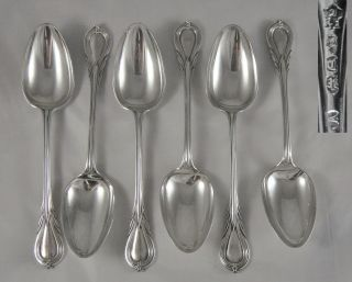 6 Fine Quality Antique 19th C Heavy Silver Epns Lily Pattern Dessert Spoons photo