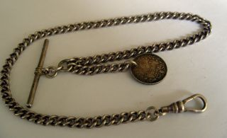 Vintage 1969 Full English Hallmark Silver Albert Pocket Watch Chain & Fob 57.  6g photo