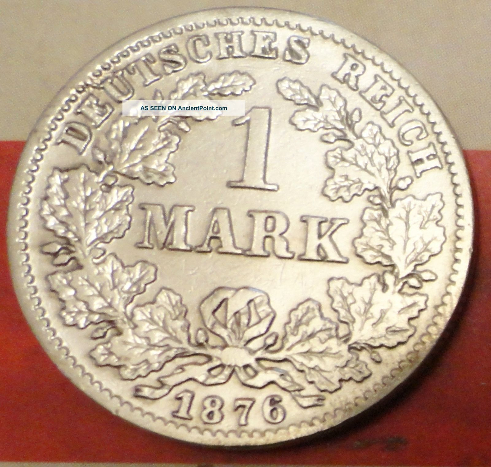 Extremly Rare 1 Mark 1876 C Germany Silver Coin Frankfurt Mint Coin Silver (.900) photo