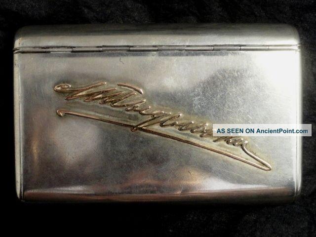 Antique Russian Silver 84 Cigarette Case With Script Gold Signature,  Marked Bk Russia photo