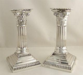 Pr Antique Hallmark Sterling Silver Candlesticks 1893 Goldsmiths & Silversmiths photo