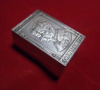 Uk 1937 King George Vi & Elizabeth Coronation Sterling Silver Snuff / Pill Box photo