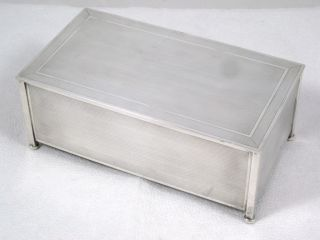 Art Deco Sterling Silver & Wood Lined Cigarette Or Cigar Box Dated 1928 photo