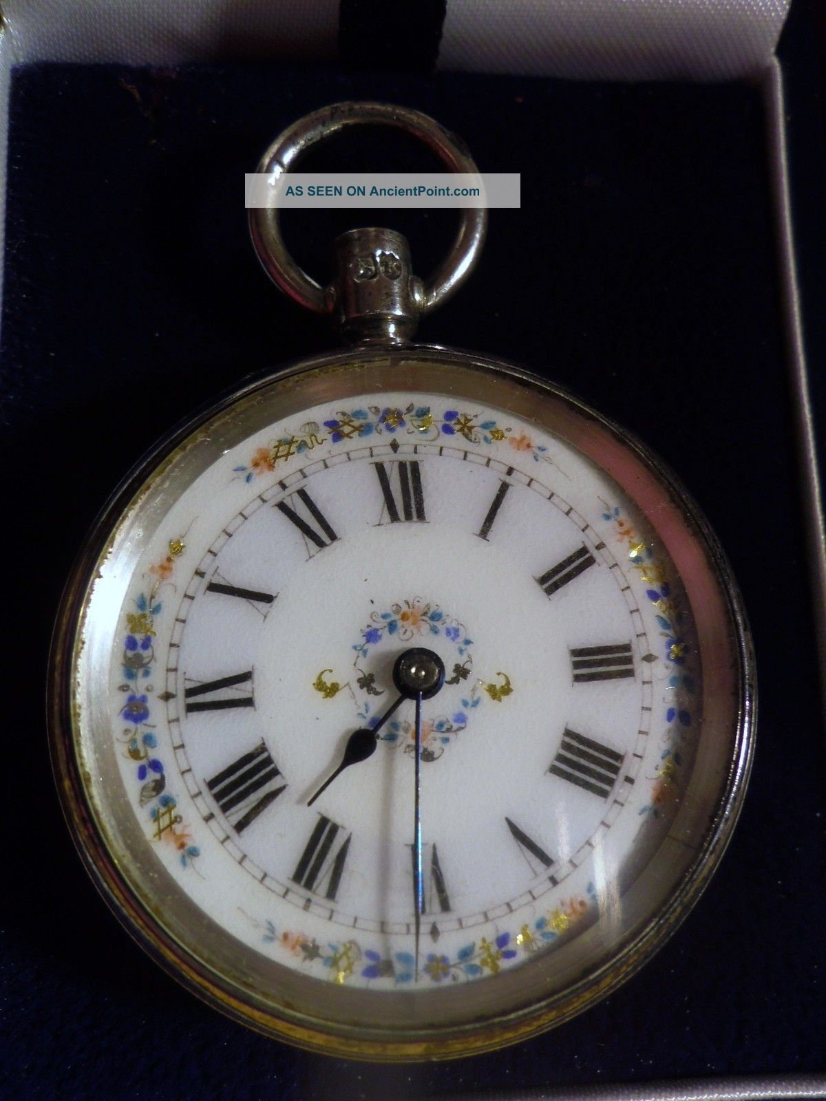 Antique Victorian Sterling Silver Hand Painted Ladies Pocket Watch,  London 1885 Pocket Watches/ Chains/ Fobs photo