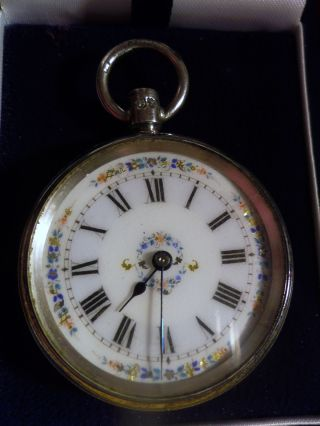 Antique Victorian Sterling Silver Hand Painted Ladies Pocket Watch,  London 1885 photo