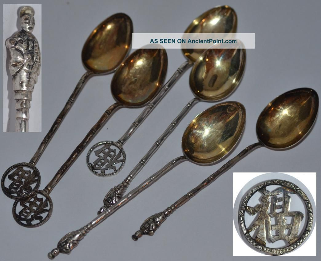 Antique Chinese Sterling Silver Spoons Hall Marked Shanghai Chengji C 1890s Asia photo