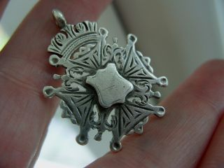 Antique 1895 Full English Hallmark Silver Albert Pocket Watch Chain Fob Medal photo