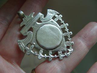 Antique 1894 Full English Hallmark Silver Albert Pocket Watch Chain Fob Medal photo