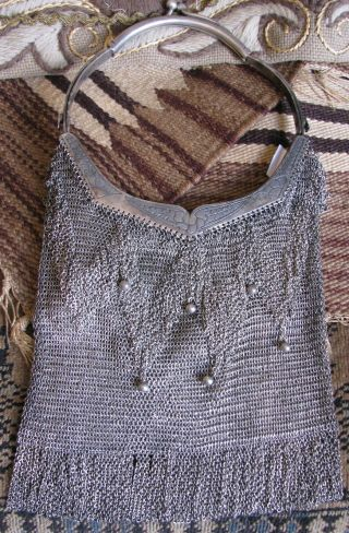 Antique Sterling Silver Mesh Handbag Purse photo