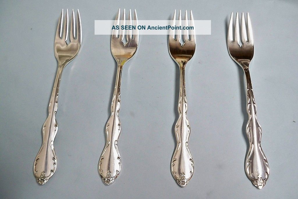 4 Camelot Melody Salad/dessert Forks - Ornate 1964 Rogers - - Clean & Table Ready Oneida/Wm. A. Rogers photo