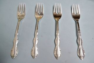 4 Camelot Melody Salad/dessert Forks - Ornate 1964 Rogers - - Clean & Table Ready photo