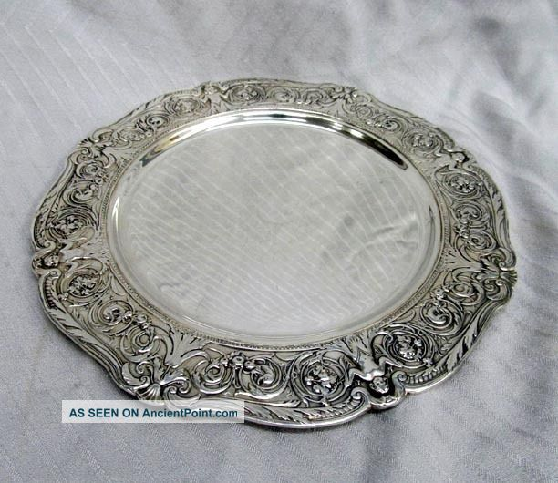 Victorian Silver Plate Barbour Charger Plate Cherub Little Girl Dolphins Rococo Plates & Chargers photo