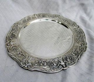 Victorian Silver Plate Barbour Charger Plate Cherub Little Girl Dolphins Rococo photo